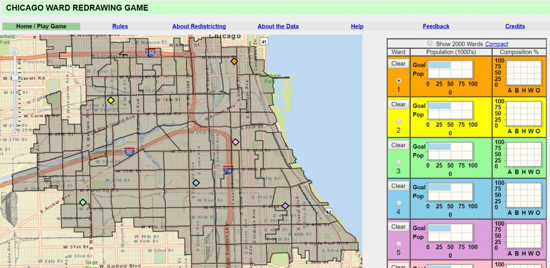 Chicago ward redrawing game urban data visualization lab legislative boundaries for congressional state senate and house and wards are redrawn after each decennial census to create political districts that are gumiabroncs Images