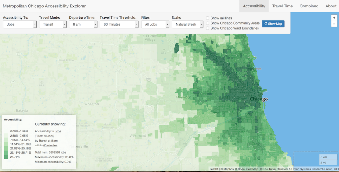 Metropolitan Chicago Accessibility Explorer Interface